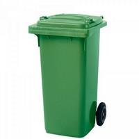 Mülltonne 120 Liter, Kunststoff, mit Rollen, grün