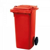 Mülltonne 120 Liter, Kunststoff, mit Rollen, rot