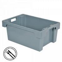 Nestbarer Stapelbehälter, 600x 400 x 200 mm, 32 Liter, grau