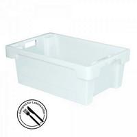 Nestbarer Stapelbehälter, 600 x 400 x 200 mm, 32 Liter, weiss