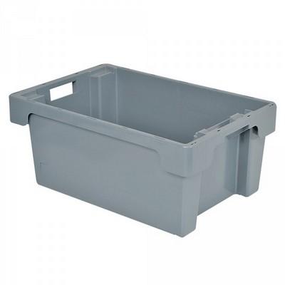 Nestbarer Stapelbehälter, 600 x 400 x 250 mm, 40 Liter, grau