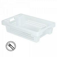 Kunststoffkorb, stapelbar / nestbar, LxBxH 600 x 400 x 150 mm, 25 Liter, weiß