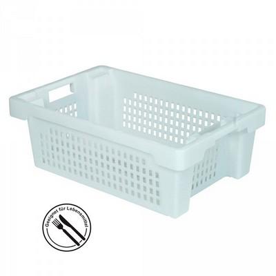 Kunststoffkorb, stapelbar / nestbar, LxBxH 600 x 400 x 200 mm, 32 Liter, weiß