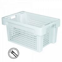 Kunststoffkorb, stapelbar / nestbar, LxBxH 600 x 400 x 300 mm, 50 Liter, weiß