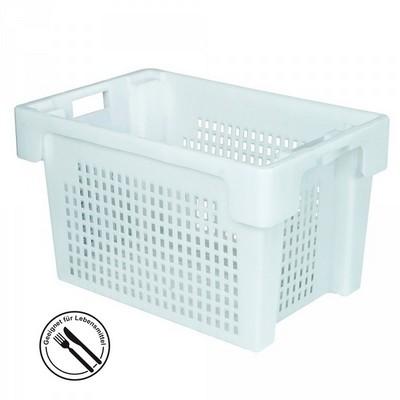 Kunststoffkorb, stapelbar / nestbar, LxBxH 600 x 400 x 350 mm, 60 Liter, weiß