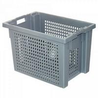 Kunststoffkorb, stapelbar / nestbar, LxBxH 600 x 400 x 400 mm, 70 Liter, grau
