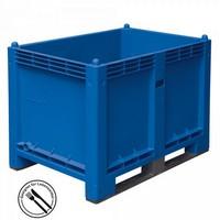 Palettenbox mit 2 Kufen, LxBxH 1200 x 800 x 850 mm - Boden/Wände geschlossen, Tragkraft 500 kg - Farbe: blau