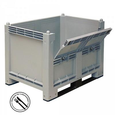 Palettenbox mit 2 Kufen, mit Kommissionierklappe, LxBxH 1200 x 800 x 850 mm - Boden/Wände geschlossen, Tragkraft 500 kg - Farbe: grau