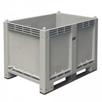 Palettenbox mit 2 Kufen, LxBxH 1200 x 800 x 850 mm - Boden/Wände geschlossen, Tragkraft 500 kg - Farbe: grau