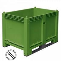 Palettenbox mit 2 Kufen, LxBxH 1200 x 800 x 850 mm - Boden/Wände geschlossen, Tragkraft 500 kg - Farbe: grün