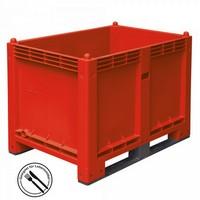 Palettenbox mit 2 Kufen, LxBxH 1200 x 800 x 850 mm - Boden/Wände geschlossen, Tragkraft 500 kg - Farbe: rot