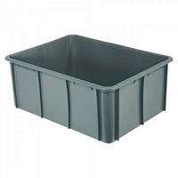 Stapelbarer Schwerlastbehälter aus Kunststoff, grau, lebensmittelecht, 120 Liter, Außenmaße LxBxH 800 x 600 x 320 mm