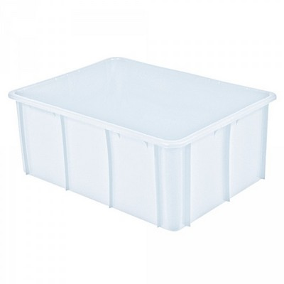 Stapelbarer Schwerlastbehälter aus Kunststoff, weiß lebensmittelecht, 120 Liter, Außenmaße LxBxH 800 x 600 x 320 mm