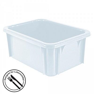 Stapelbarer Schwerlastbehälter aus Kunststoff, weiß lebensmittelecht, 13 Liter, Außenmaße LxBxH 400 x 300 x 165 mm
