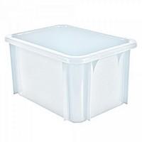 Stapelbarer Schwerlastbehälter aus Kunststoff, weiß lebensmittelecht, 18 Liter, Außenmaße LxBxH 400 x 300 x 215 mm