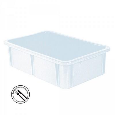 Stapelbarer Schwerlastbehälter aus Kunststoff, weiß lebensmittelecht, 30 Liter, Außenmaße LxBxH 600 x 400 x 165 mm