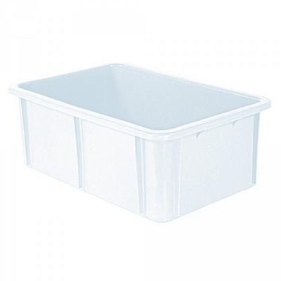 Stapelbarer Schwerlastbehälter aus Kunststoff, weiß lebensmittelecht, 40 Liter, Außenmaße LxBxH 600 x 400 x 215 mm