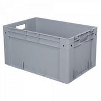 Stapelbehälter für schwere Lasten, PP-Kunststoff  grau / lebensmittelecht / mit 2 Grifföffnungen - LxBxH 600 x 400 x 320 mm, 60 Liter