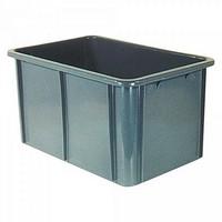 Stapelbarer Schwerlastbehälter aus Kunststoff, grau, lebensmittelecht, 60 Liter, Außenmaße LxBxH 600 x 400 x 320 mm