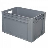 Stapelbehälter für schwere Lasten, PP-Kunststoff grau / lebensmittelecht - LxBxH 600 x 400 x 420 mm, 80 Liter