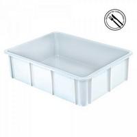 Stapelbarer Schwerlastbehälter aus Kunststoff, weiß lebensmittelecht, 80 Liter, Außenmaße LxBxH 800 x 600 x 220 mm