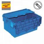 Versandbehälter mit Deckel, stapelbar, abschließbar, verplombbar, 54 Liter, Außenmaße LxBxH ..