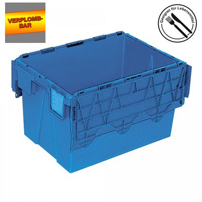 Versandbehälter mit Deckel, stapelbar, abschließbar, verplombbar, 65 Liter, Außenmaße LxBxH 600 x 400 x 365 mm