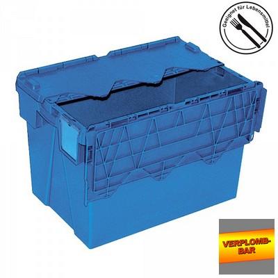 Versandbehälter mit Deckel, stapelbar, abschließbar, verplombbar, 70 Liter, Außenmaße LxBxH 600 x 400 x 400 mm