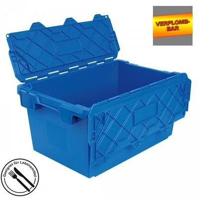 Versandbehälter mit Deckel, stapelbar, abschließbar, verplombbar, 75 Liter, Außenmaße LxBxH 715 x 465 x 355 mm