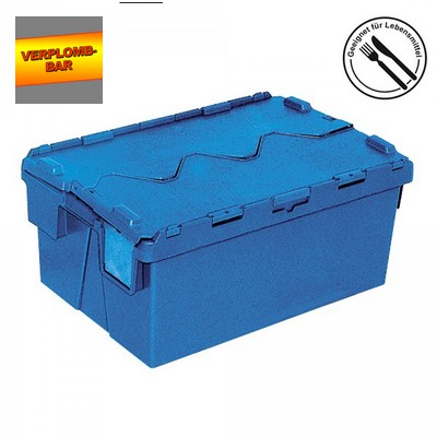 Versandbehälter mit Deckel, stapelbar, abschließbar, verplombbar, 65 Liter, Außenmaße LxBxH 600 x 400 x 265 mm
