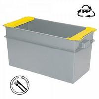 Volumenbox aus Polypropylen-Kunststoff (PP), lebensmittelecht, stapelbar / mit Stapelklappen, LxBxH 790 x 400 x 410 mm, 100 Liter, Farbe: grau