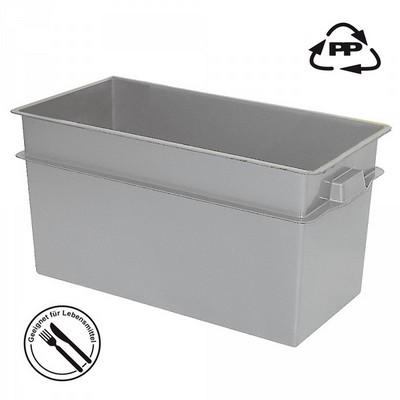 Volumenbox aus Polypropylen-Kunststoff (PP), lebensmittelecht, stapelbar, LxBxH 790 x 400 x 410 mm, 100 Liter, Farbe: grau