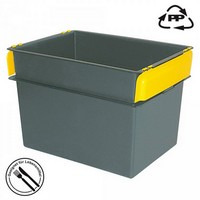 Volumenbox aus Polypropylen-Kunststoff (PP), lebensmittelecht, stapelbar, mit Stapelklappen, LxBxH 790 x 600 x 550 mm, 200 Liter, Farbe: schwarz