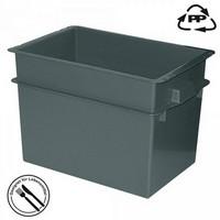 Volumenbox aus Polypropylen-Kunststoff (PP), lebensmittelecht, stapelbar, LxBxH 790 x 600 x 550 mm, 200 Liter, Farbe: schwarz