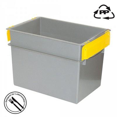 Volumenbox aus Polypropylen-Kunststoff (PP), lebensmittelecht, stapelbar / mit Stapelklappen, LxBxH 590 x 400 x 410 mm, 70 Liter, Farbe: grau