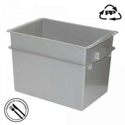 Volumenbox aus Polypropylen-Kunststoff (PP), lebensmittelecht, stapelbar, LxBxH 590 x 400 x 410 mm, 70 Liter, Farbe: grau
