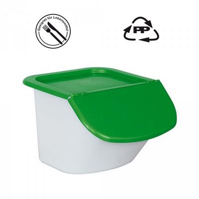 Vorratsbehälter 15 Liter, 10,5 kg Mehl oder 15 kg Zucker, Polypropylen (PP), LxBxH 440 x 400 x 280 mm, weiß/grün