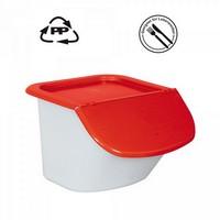 Vorratsbehälter 15 Liter, 10,5 kg Mehl oder 15 kg Zucker, Polypropylen (PP), LxBxH 440 x 400 x 280 mm, weiß/rot