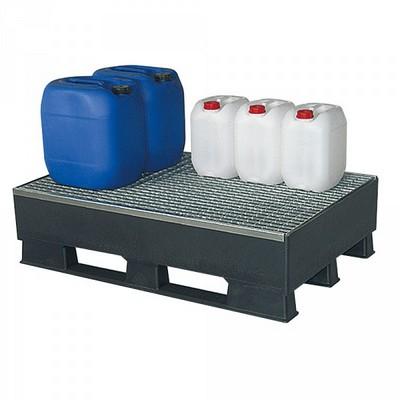 Auffangwanne aus Kunststoff, schwarz, mit verzinktem Gitterrost - LxBxH 1200 x 800 x 315 mm, Auffangvolumen 120 Liter