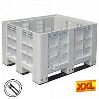 Großbox mit 3 Kufen, LxBxH 1200 x 1000 x 760 mm - grau, Boden und Wände durchbrochen