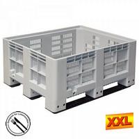 Großbox mit 3 Kufen, LxBxH 1200 x 1000 x 580 mm - grau, Boden und Wände durchbrochen