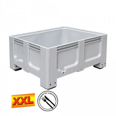 Großbox mit 4 Füßen, LxBxH 1200 x 1000 x 580 mm - grau, Boden und Wände geschlossen