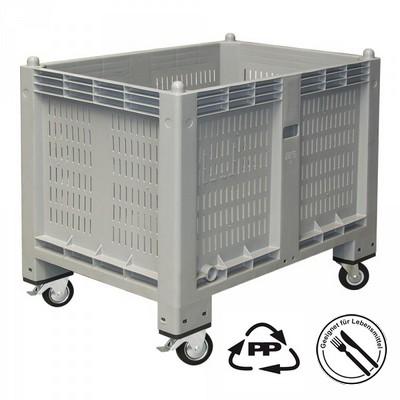 Palettenbox mit Rollen u. Feststellbremse - grau, 1200 x 800 x 1000 mm, Boden geschlossen, Wände durchbrochen