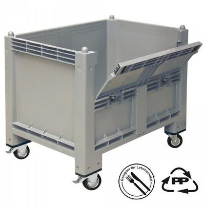 Palettenbox mit Rollen u. Kommissionierklappe - grau, 1200 x 800 x 1000 mm, Boden/Wände geschlossen