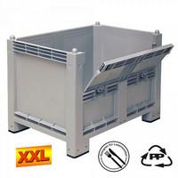 Palettenbox mit Kommissionierklappe, grau, lebensmittelecht, LxBxH 1200 x 800 x 850 mm