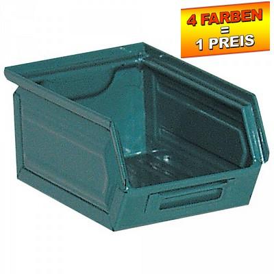 Sichtlagerkasten SB7, stapelbar, LxBxH 230/200x140x130 mm, Inhalt 3,5 Liter, Stahlblech/lackiert, Farbe: blaugrün