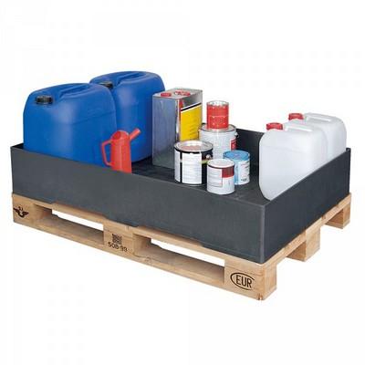 Auffangwanne aus Kunststoff, schwarz, LxBxH 1200 x 800 x 215 mm, Auffangvolumen 120 Liter
