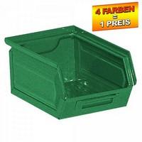Sichtlagerkasten SB7, stapelbar, LxBxH 230/200x140x130 mm, Inhalt 3,5 Liter, Stahlblech/lackiert, Farbe: grün