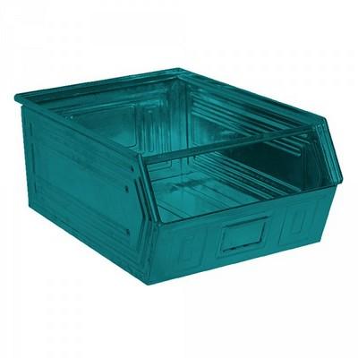 Sichtlagerkasten SB0, stapelbar, LxBxH 700/630x450x300 mm, Inhalt 83 Liter, Stahlblech lackiert/Farbe: blaugrün