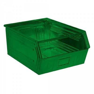 Sichtlagerkasten SB0, stapelbar, LxBxH 700/630x450x300 mm, Inhalt 83 Liter, Stahlblech lackiert/Farbe: grün